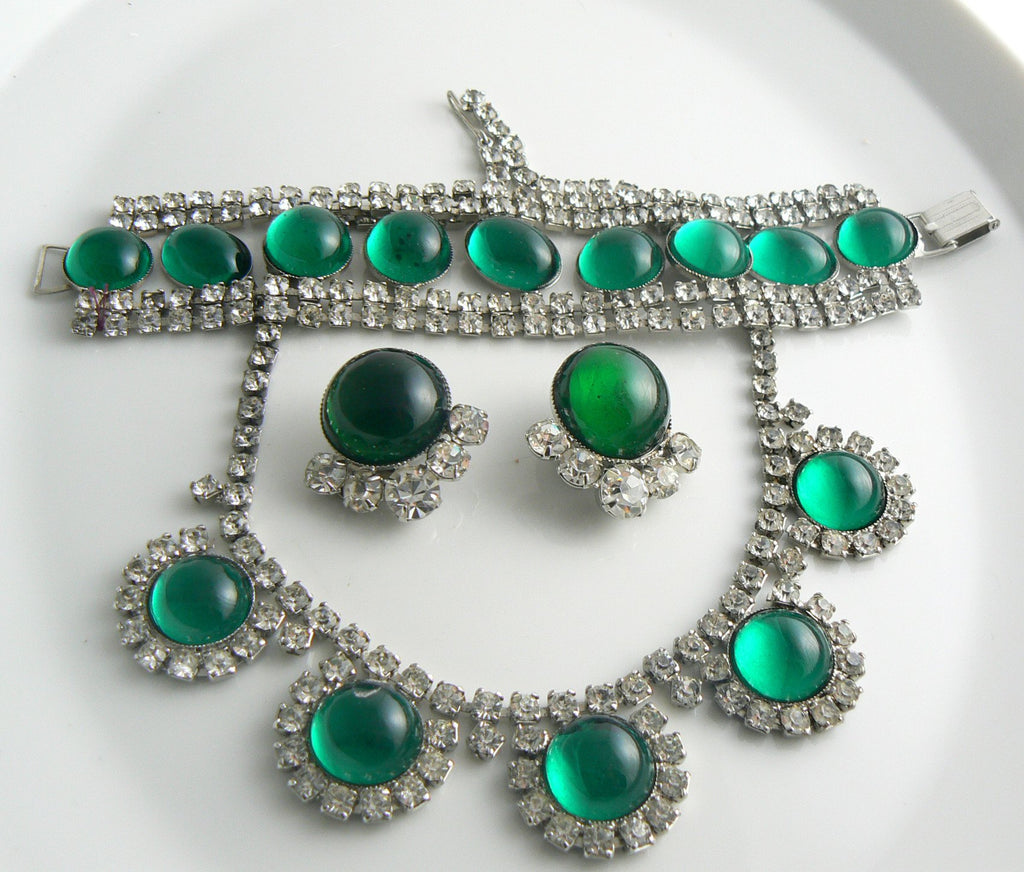 Emerald Green Large Glass Cabochon Rhinestone Parure - Vintage Lane Jewelry