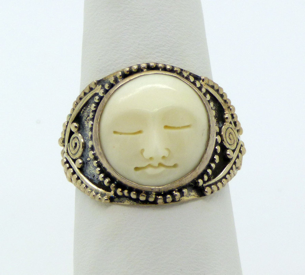 Balinese Bone Carved Face Sterling Silver 925 Ring,  Size 7.5 - Vintage Lane Jewelry