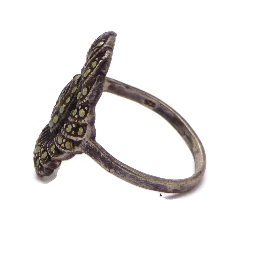Vintage Sterling Silver Marcasite Ring - Vintage Lane Jewelry