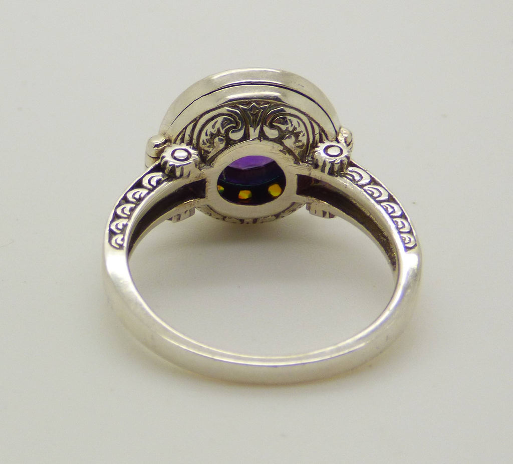 Art Deco Natural Amethyst and Opal Sterling Silver Poison Pill Box Ring - Vintage Lane Jewelry