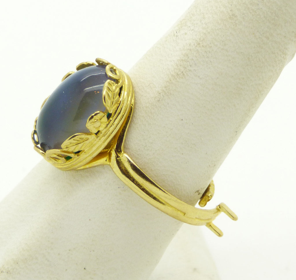 24K Gold Plated Flowers and Leaves Mood Ring - Vintage Lane Jewelry
