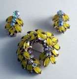 Continental Yellow Givre Rhinestone Demi Parure - Vintage Lane Jewelry