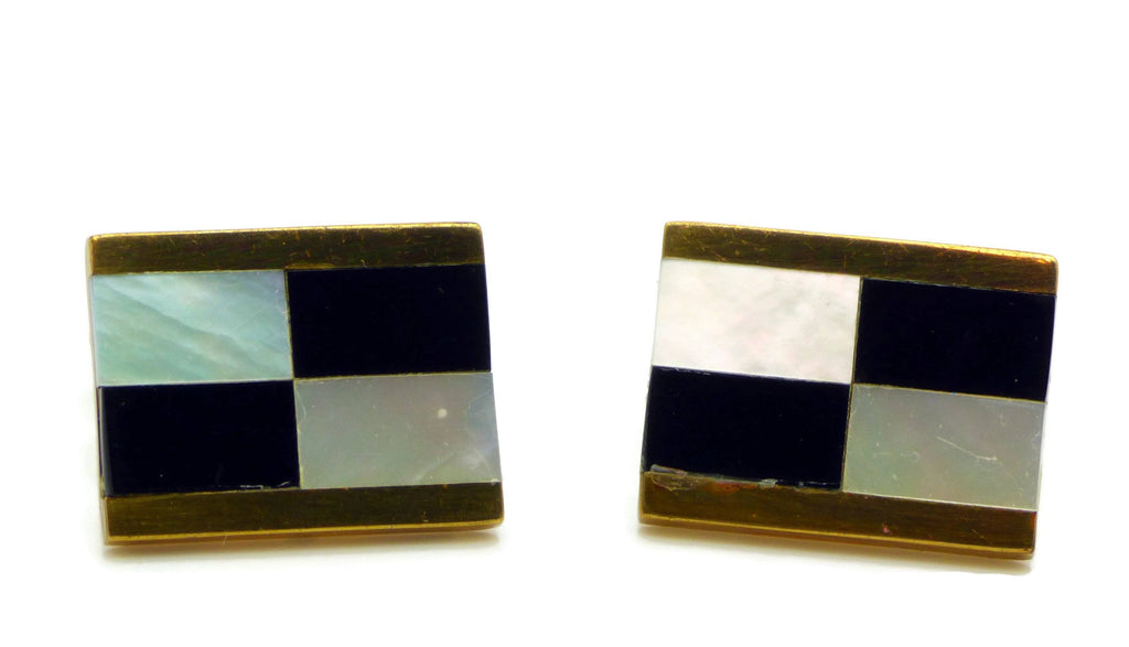 Vintage Signed Austria Checkerboard Cufflinks - Vintage Lane Jewelry