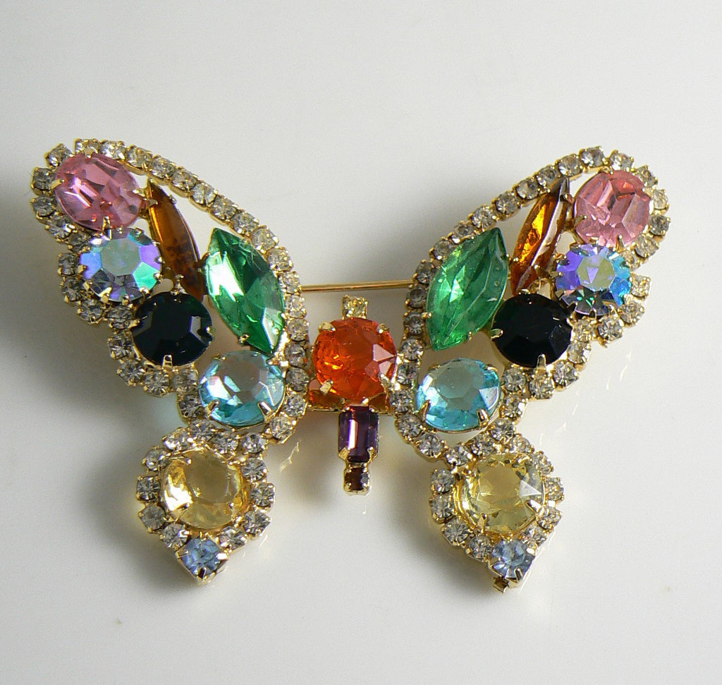 Beautiful Colorful Rhinestone Butterfly Vintage Brooch - Vintage Lane Jewelry