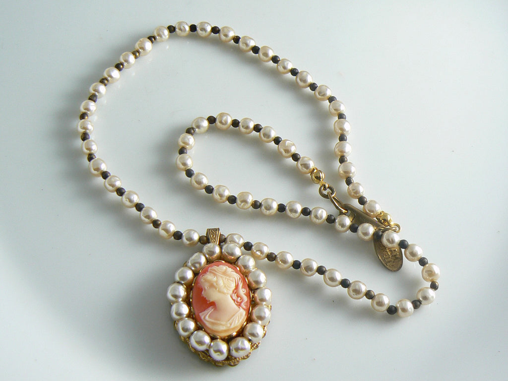 Miriam Haskell Glass Pearl Cameo Necklace - Vintage Lane Jewelry