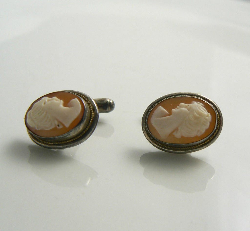 Genuine Carved Shell Cameo Cufflinks - Vintage Lane Jewelry