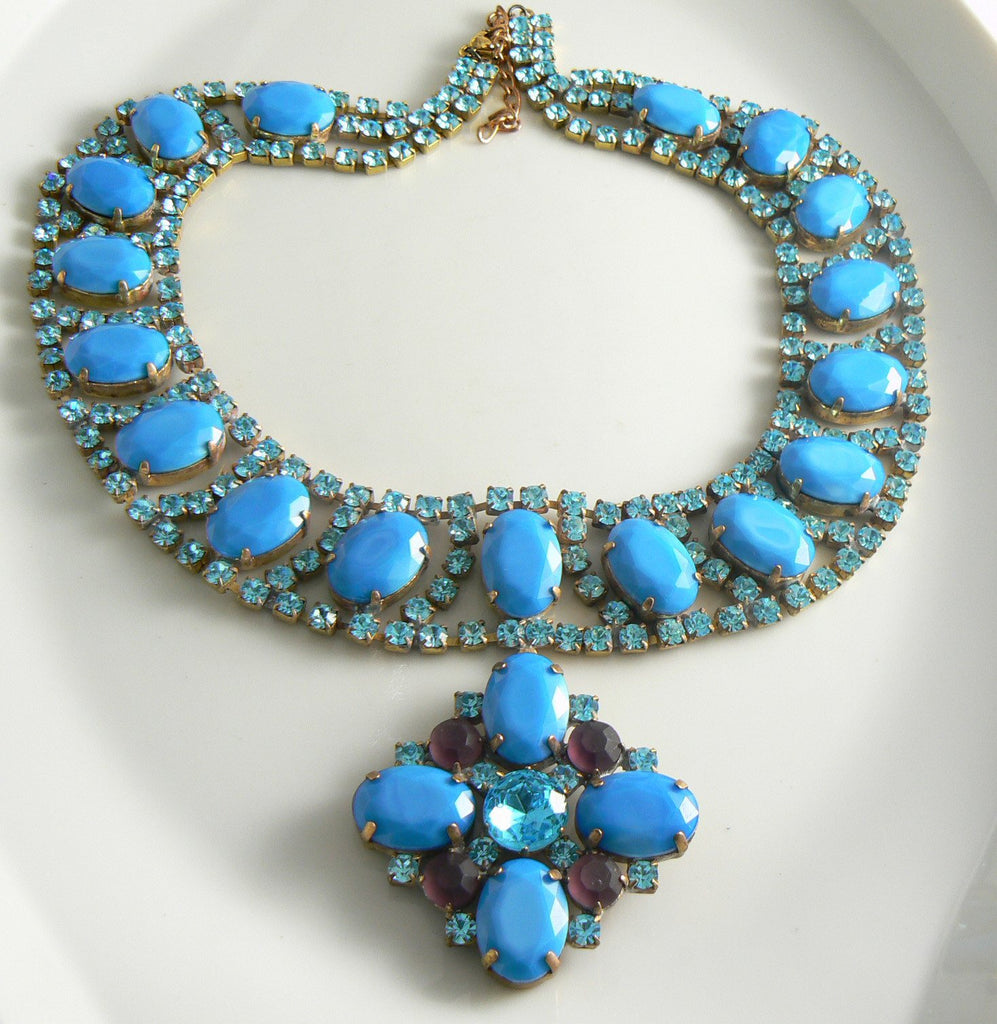 Czech Glass Opaque Blue Rhinestone Taboo Necklace - Vintage Lane Jewelry