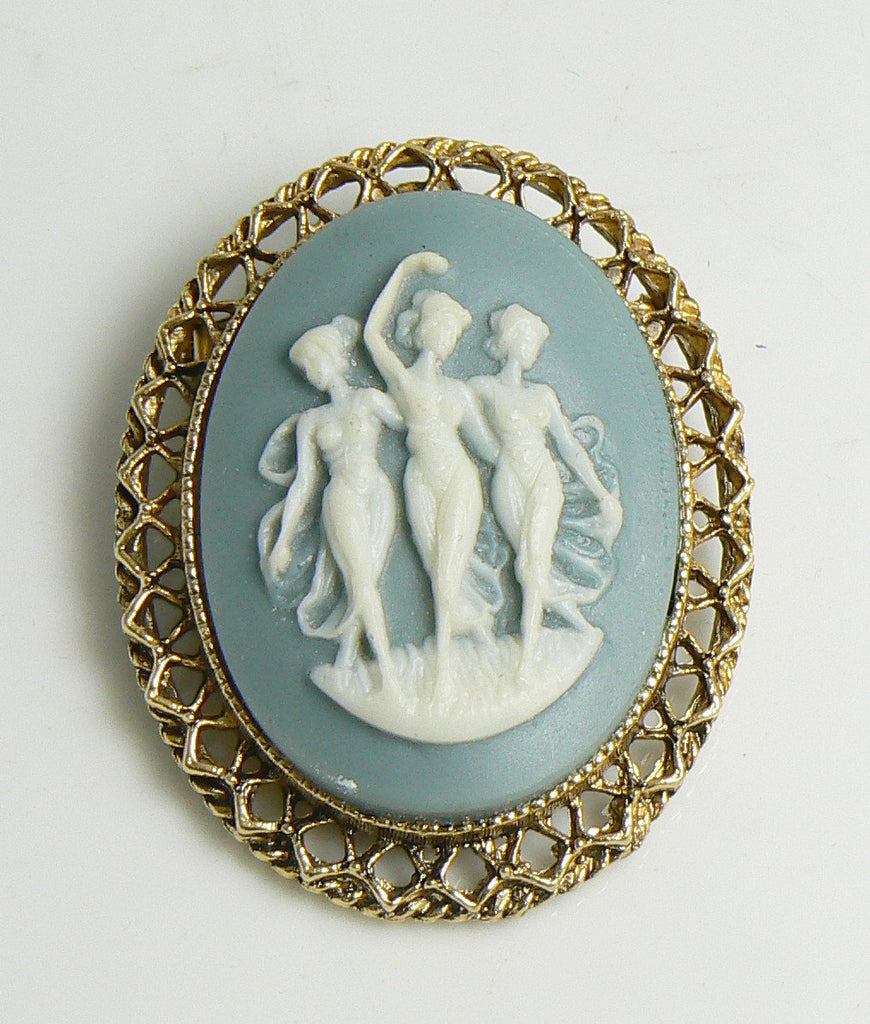 Vintage Blue Celluloid Three Graces Cameo Brooch - Vintage Lane Jewelry