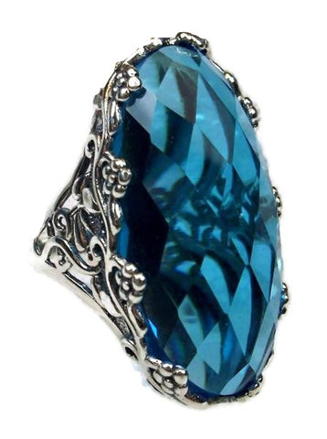 Blue Aquamarine 17.22 ct 14k white gold over sterling silver ring
