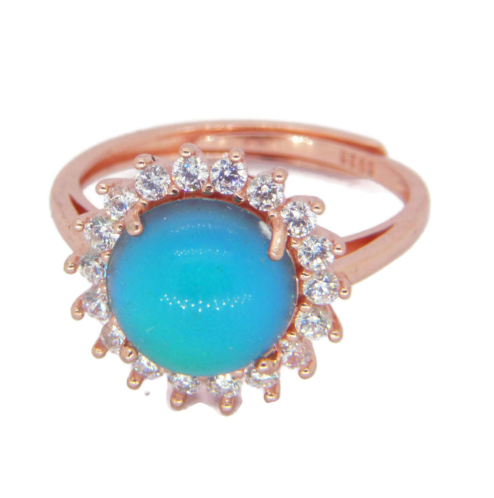 Rose Gold Plated Crystal Mood Ring - Vintage Lane Jewelry