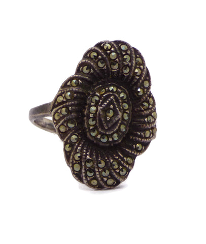 Mood Ring Sterling Silver Filigree Flower Setting