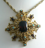 Florenza Garnet Turquoise Glass Maltese Cross Necklace - Vintage Lane Jewelry