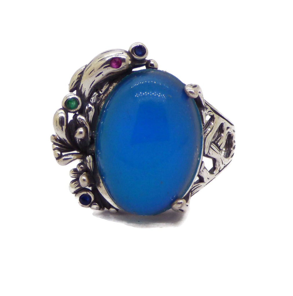 Dolphin Mood Ring Sterling Silver - Vintage Lane Jewelry