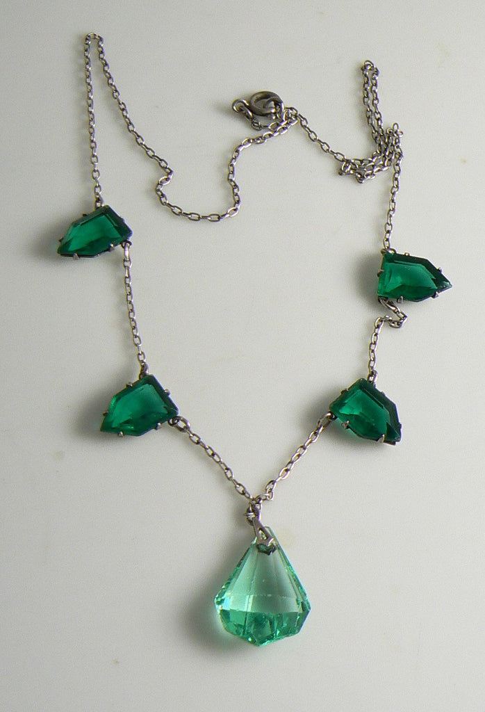 Vintage Sterling Silver Art Deco Emerald Green Glass Necklace - Vintage Lane Jewelry