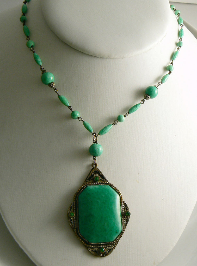 Czech Peking Green Glass Bead Necklace with Pendant - Vintage Lane Jewelry