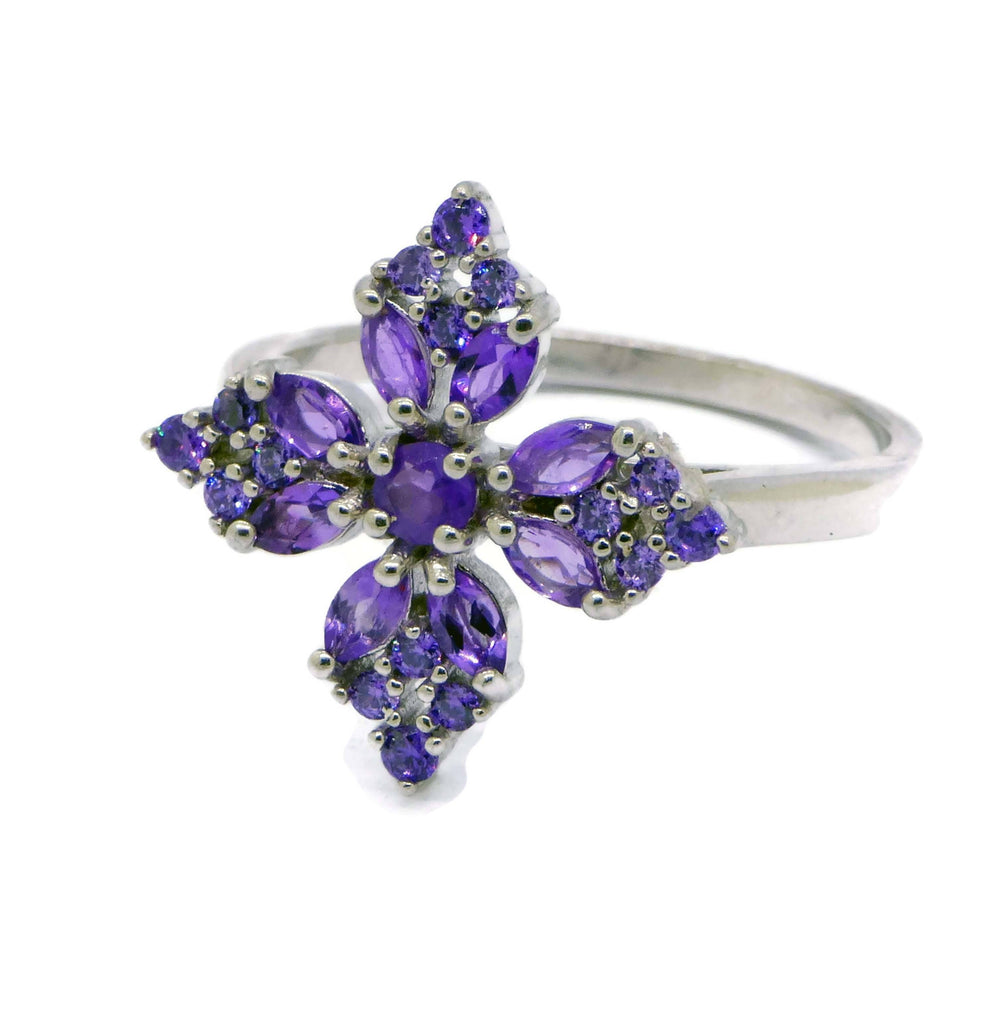 Marquise Amethyst Cross Ring - Vintage Lane Jewelry