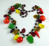 Glass Fruit and Red Peppers Necklace - Vintage Lane Jewelry