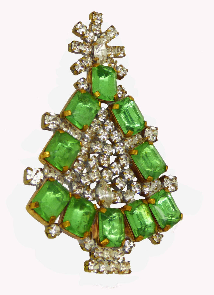 Czech Glass Green Rhinestone Husar D. Signed Christmas Tree Pin, X-mas pin, Holiday Brooch - Vintage Lane Jewelry