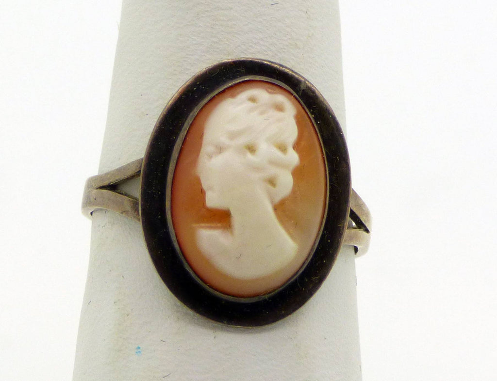 Art Deco Shell Cameo Sterling Silver Ring - Vintage Lane Jewelry