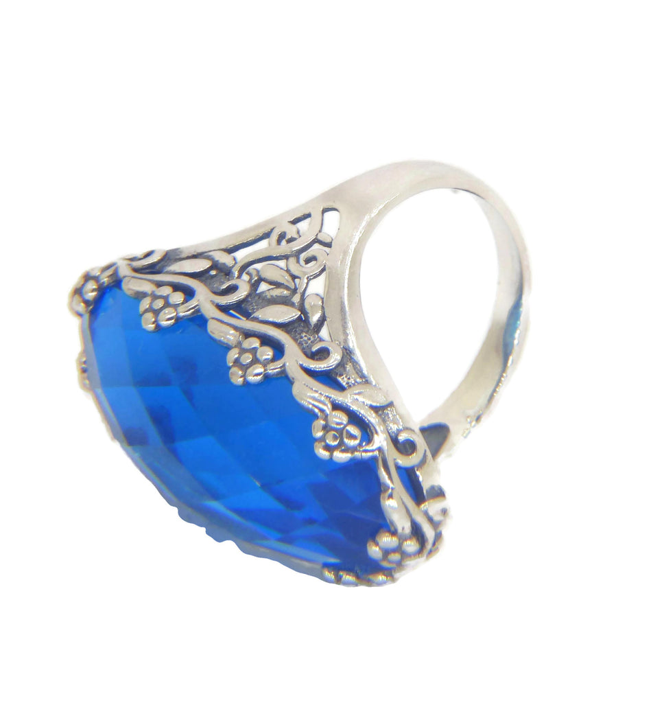 Swiss Topaz Flower Floral Filigree Sterling Silver Ring - Vintage Lane Jewelry