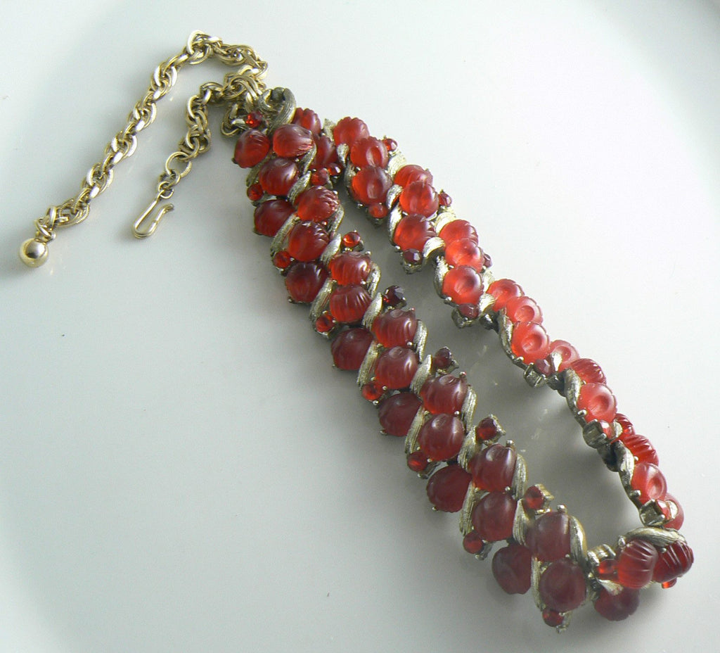 Lisner Red Jelly Belly Cabs Rhinestone Necklace - Vintage Lane Jewelry