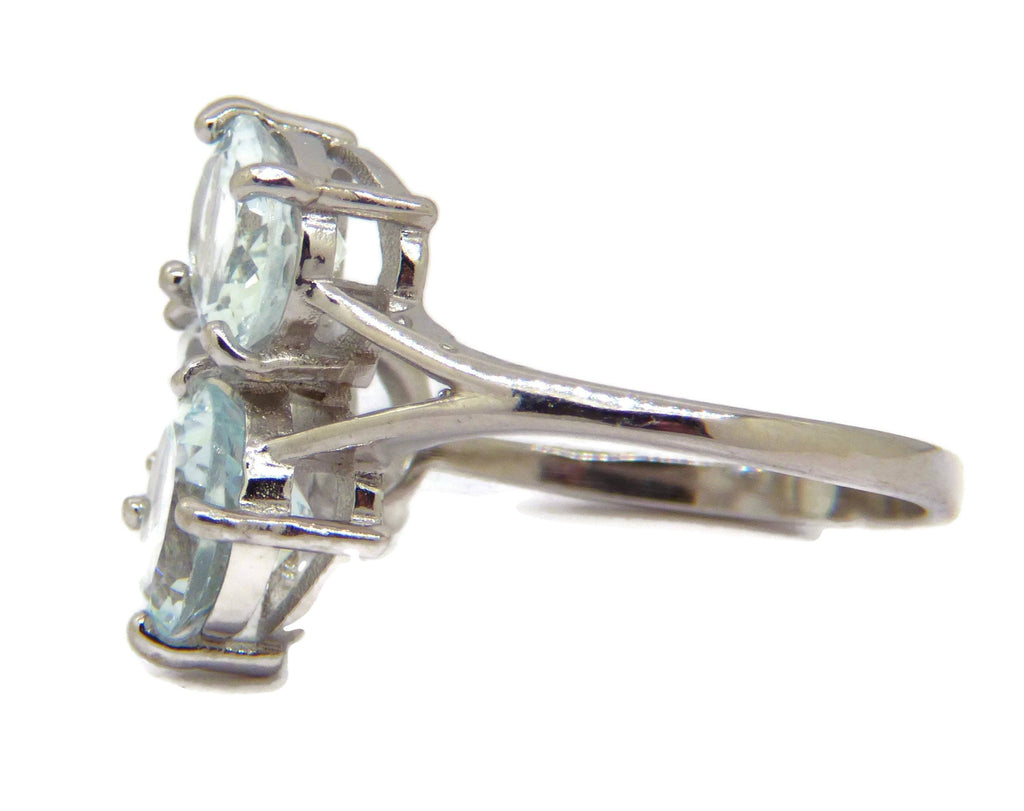Blue Aquamarine 17.22 ct 14k white gold over sterling silver ring - Vintage Lane Jewelry