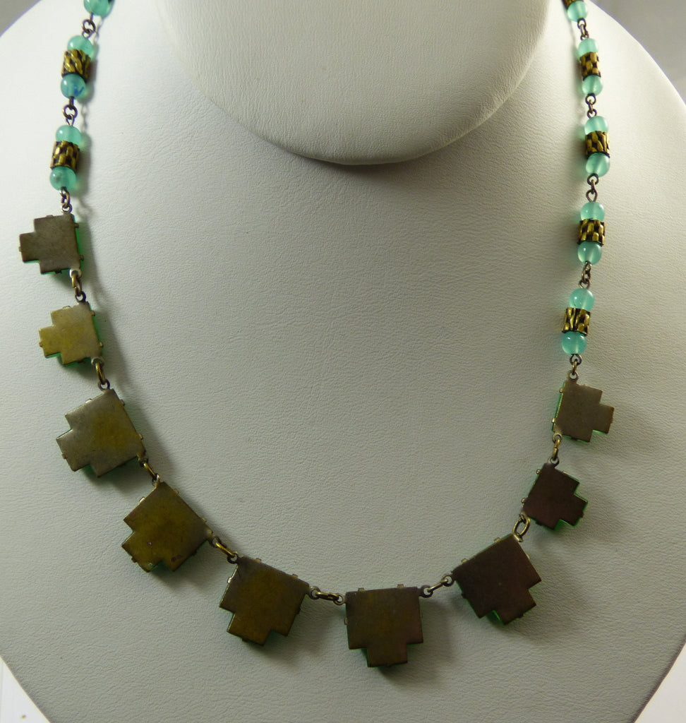Vintage Vauxhall Chrysoprase Green Step Glass Beaded Necklace - Vintage Lane Jewelry