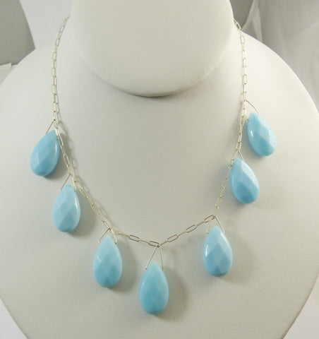 Vintage Baroque Pale Blue Glass Pearl AB Crystal Drop Pendant Necklace