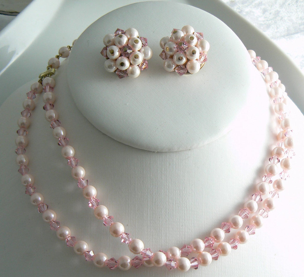 Laguna Pink Faux Pearl And Crystal Necklace, Bracelet And Earring Set - Vintage Lane Jewelry