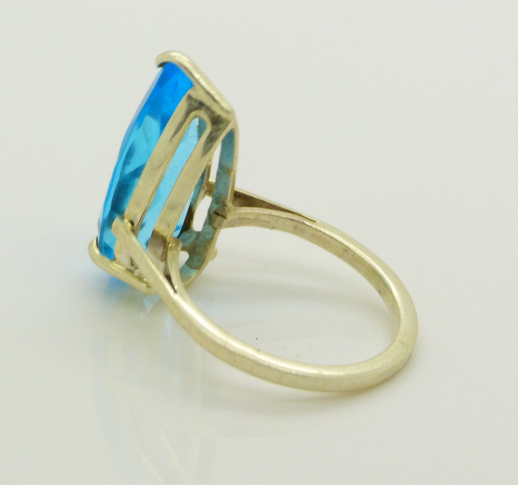 6CT Blue Topaz Sterling Silver Modernist Ring, Size 7.25 - Vintage Lane Jewelry