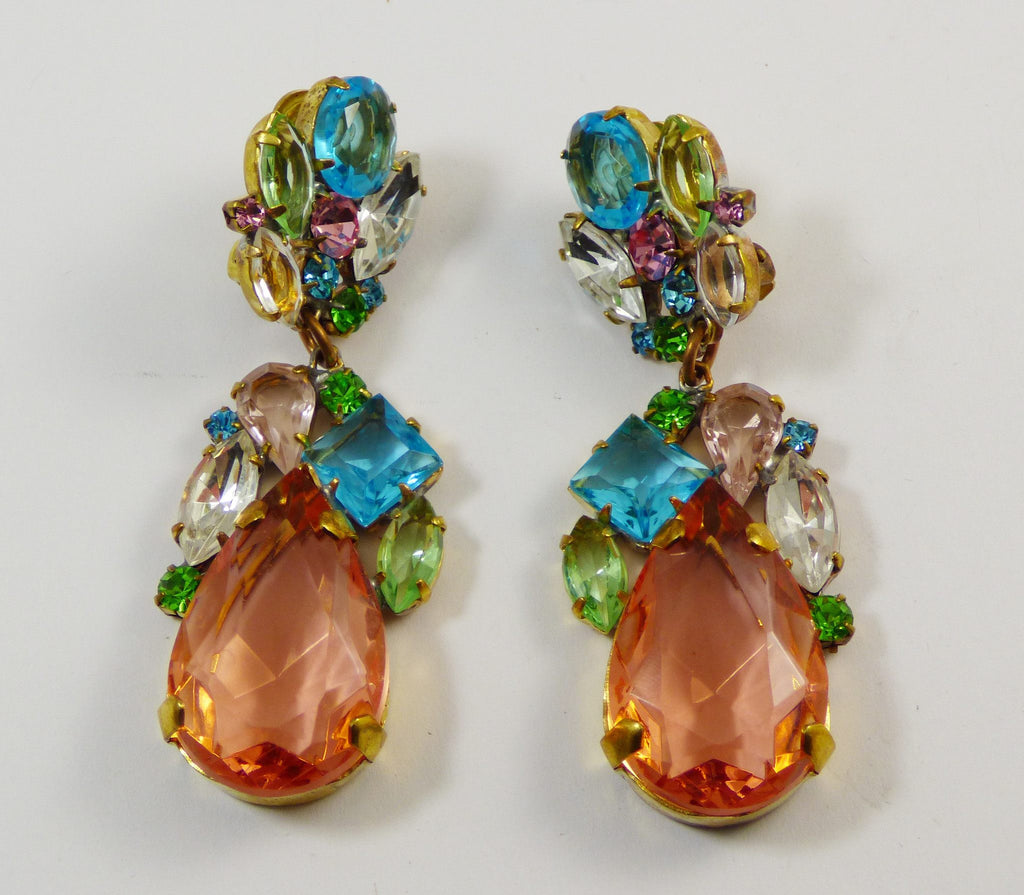 Czech Glass Peach Pastel Dangle Clip Earrings - Vintage Lane Jewelry