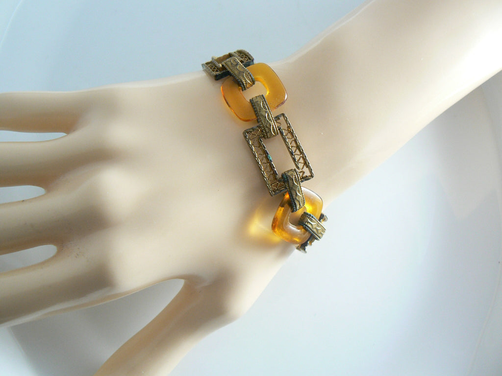 Unusual Brass And Amber Glass Filigree Link Bracelet - Vintage Lane Jewelry