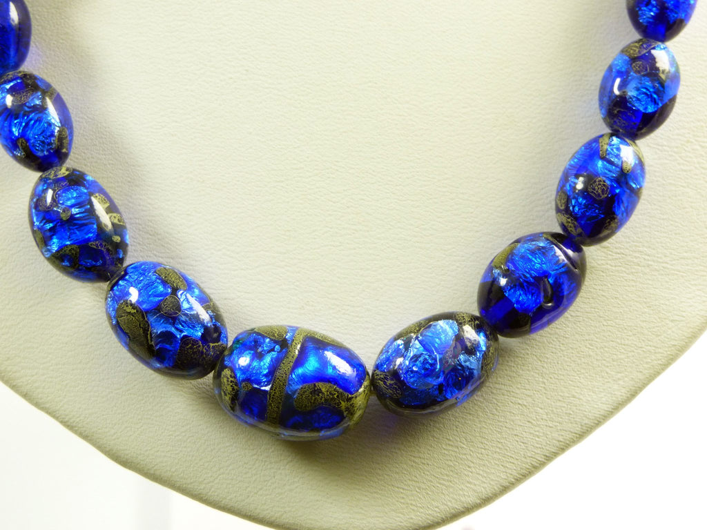 Danecraft Sterling Bohemian Peacock Blue Foil Art Glass Bead Necklace - Vintage Lane Jewelry