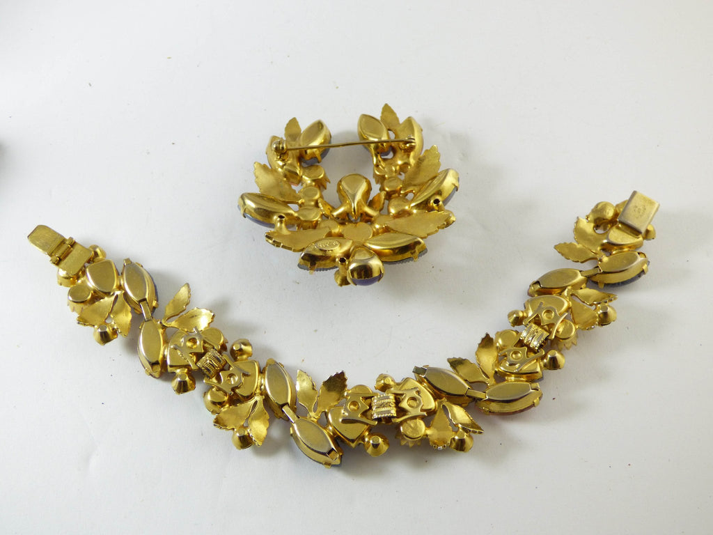 Vintage Kramer of New York Molded Glass AB Rhinestone Leaf Demi Parure, - Vintage Lane Jewelry