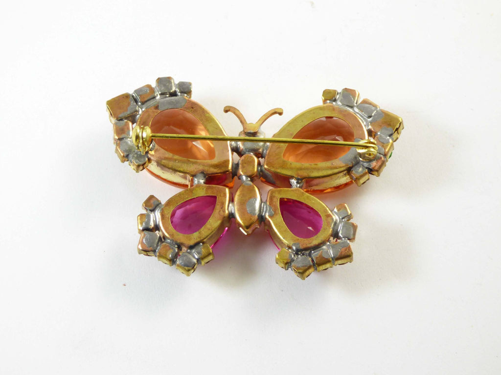 Butterfly Brooch Peach and Pink Glass, Figural Pin, Insect Pin, Czech Glass - Vintage Lane Jewelry