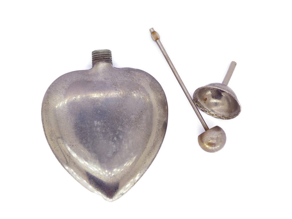 French Sterling Heart Perfume bottle and Funnel - Vintage Lane Jewelry