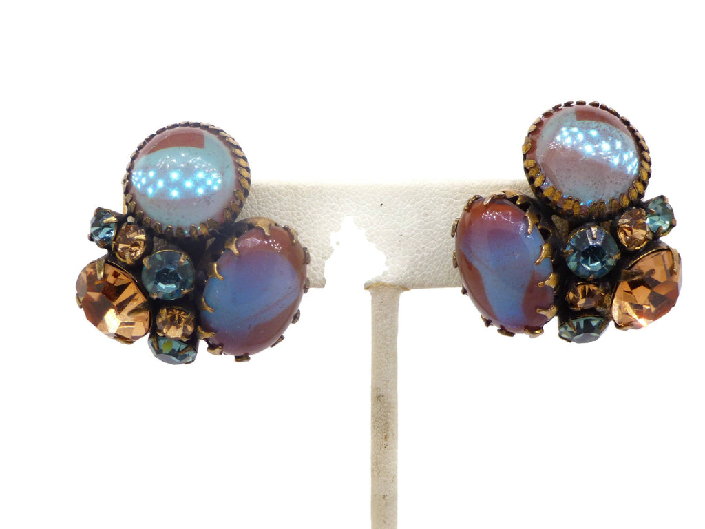 Saphiret Regency Rhinestone Clip Earrings - Vintage Lane Jewelry