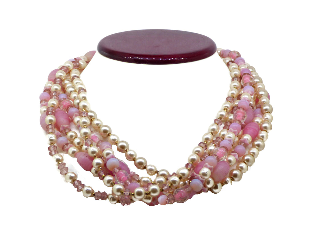 Miriam Haskell Pink Art Glass Bead Baroque Glass Pearl Necklace - Vintage Lane Jewelry