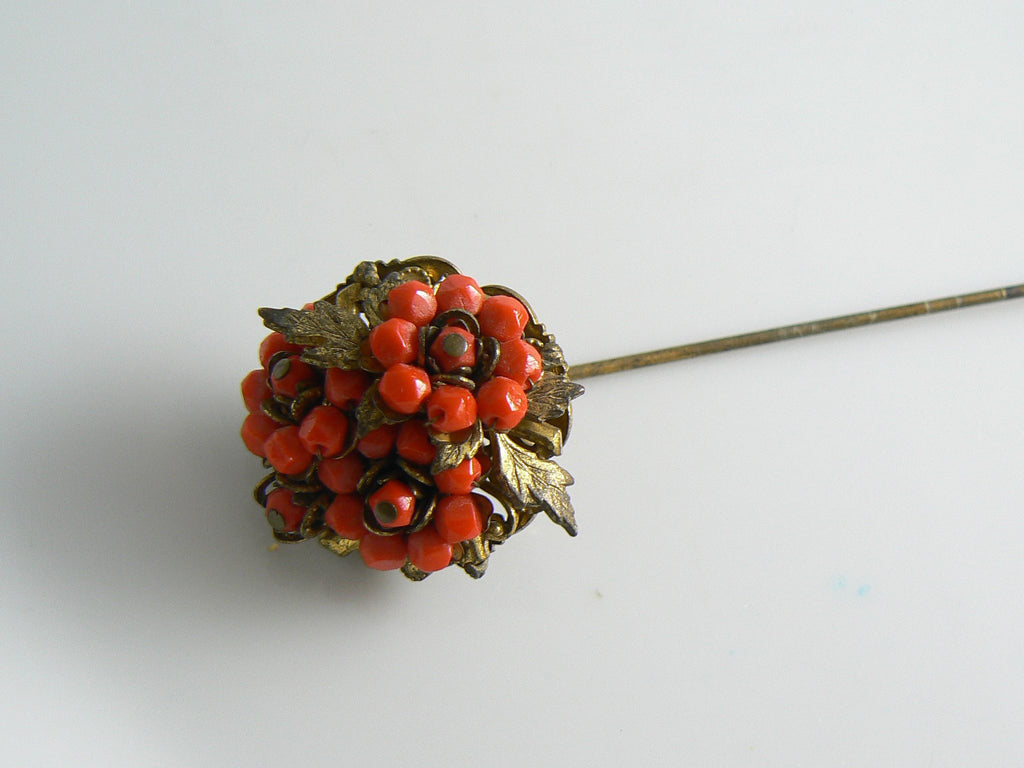 Stanley Hagler Coral Bead and Gold Gilt Flower hat Pin - Vintage Lane Jewelry