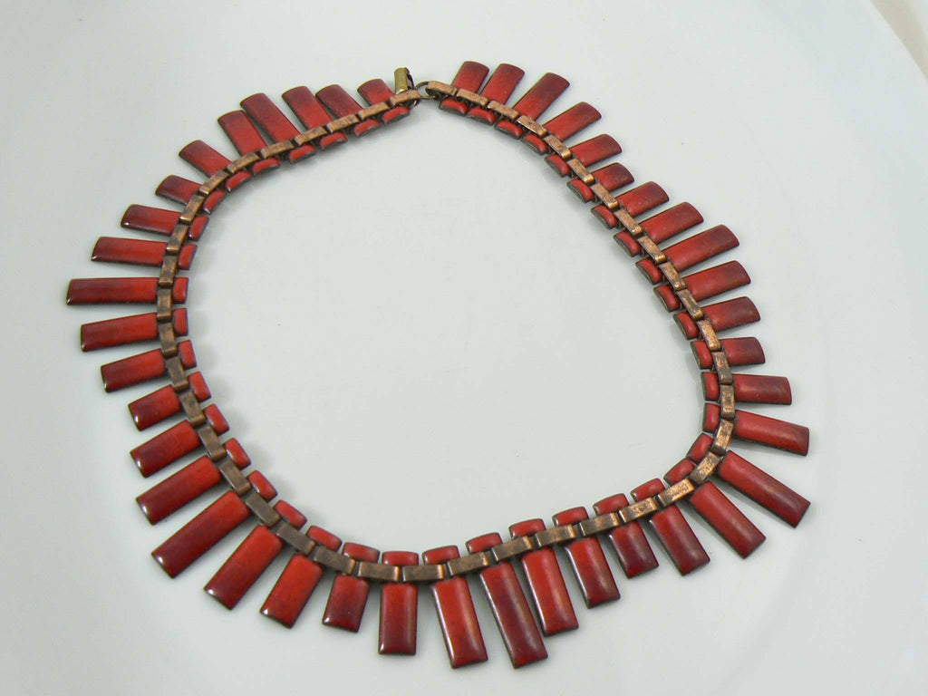 Matisse Red Enamel on Copper Necklace - Vintage Lane Jewelry