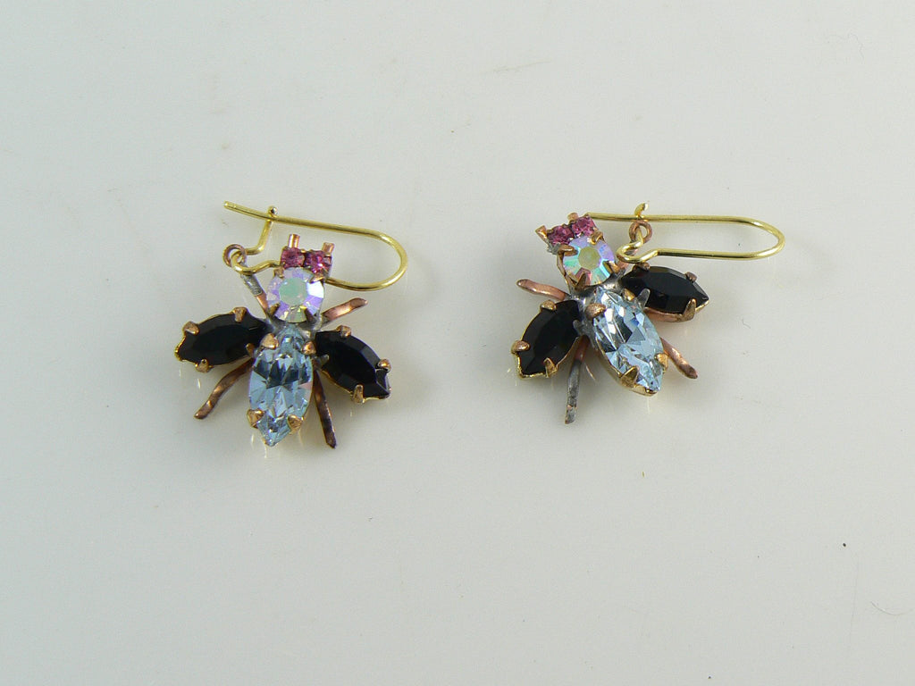 Czech Glass Rhinestone Fly Earrings, Black and Lavender - Vintage Lane Jewelry