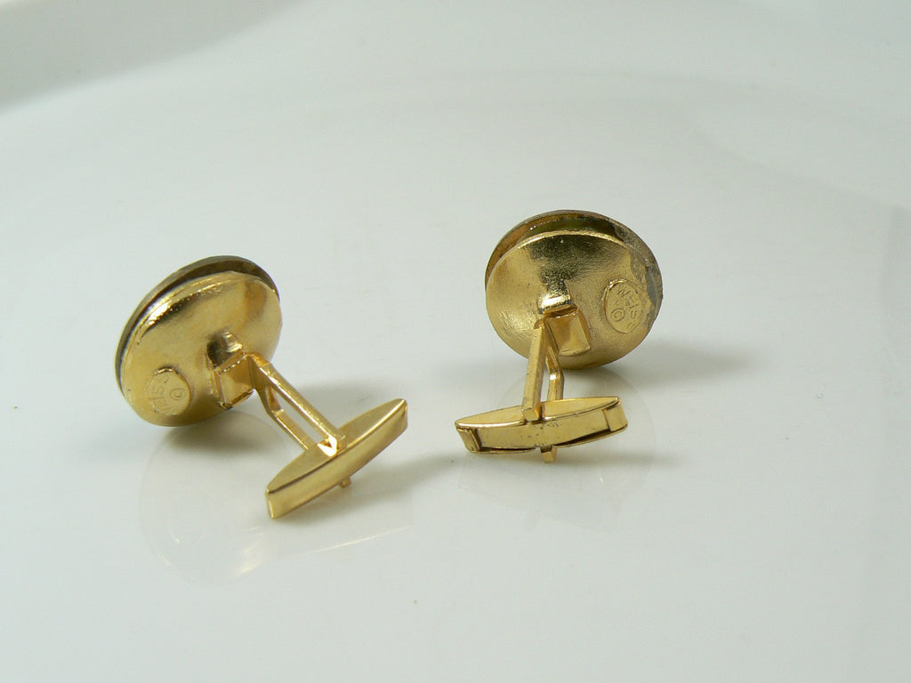 Vintage signed Weiss Watermelon Rivoli Cufflinks - Vintage Lane Jewelry
