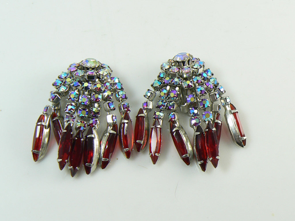 Vintage Weiss Red Aurora Borealis Rhinestone Fringe Earrings - Vintage Lane Jewelry