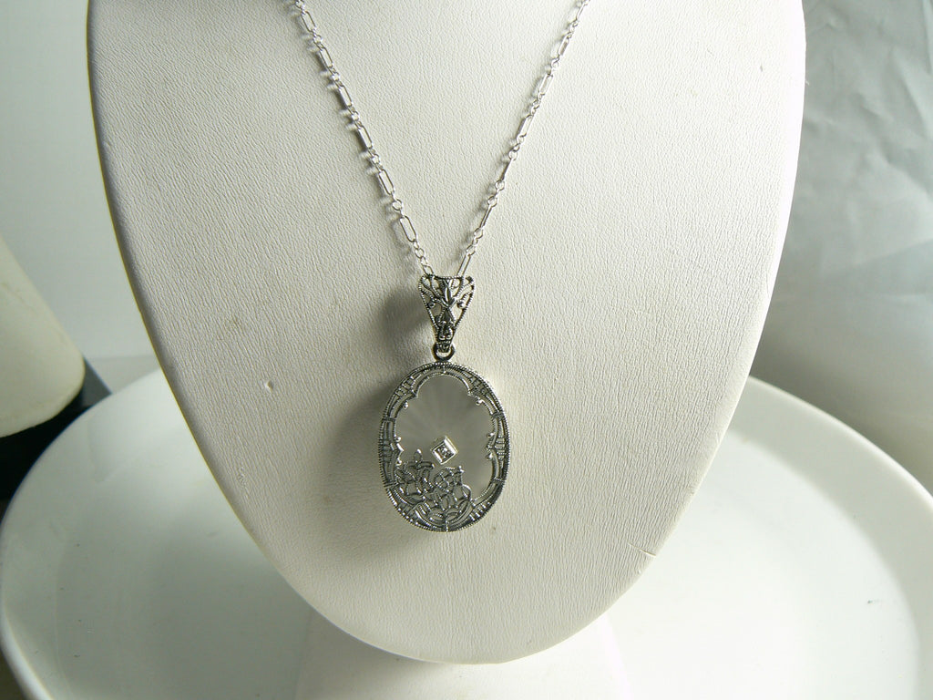 Art Deco Sterling Silver Filigree Camphor Glass Diamond Necklace - Vintage Lane Jewelry
