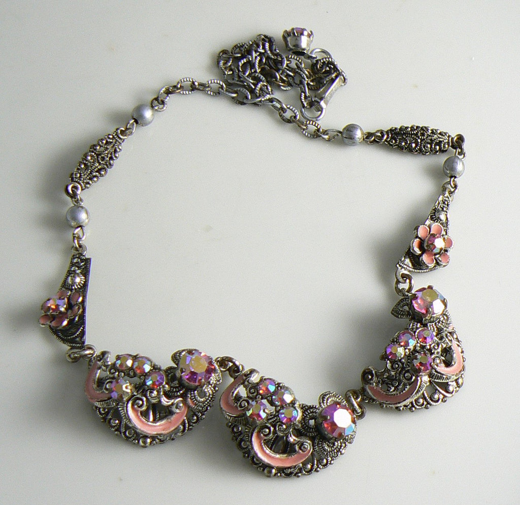 Vintage Czech Art Deco Pink Ab Rhinestone And Enamel Filigree Necklace - Vintage Lane Jewelry