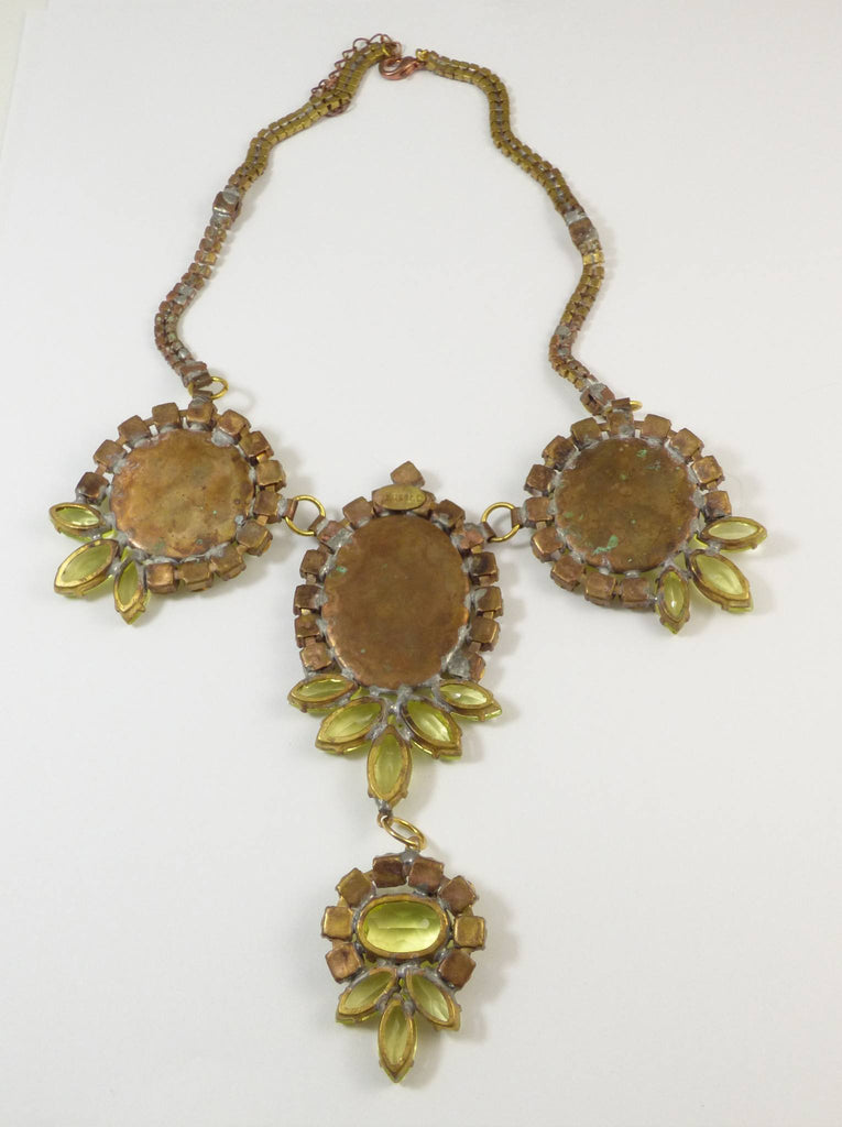 Czech Husar D Vaseline Uranium Glass Cameo Statement Necklace - Vintage Lane Jewelry