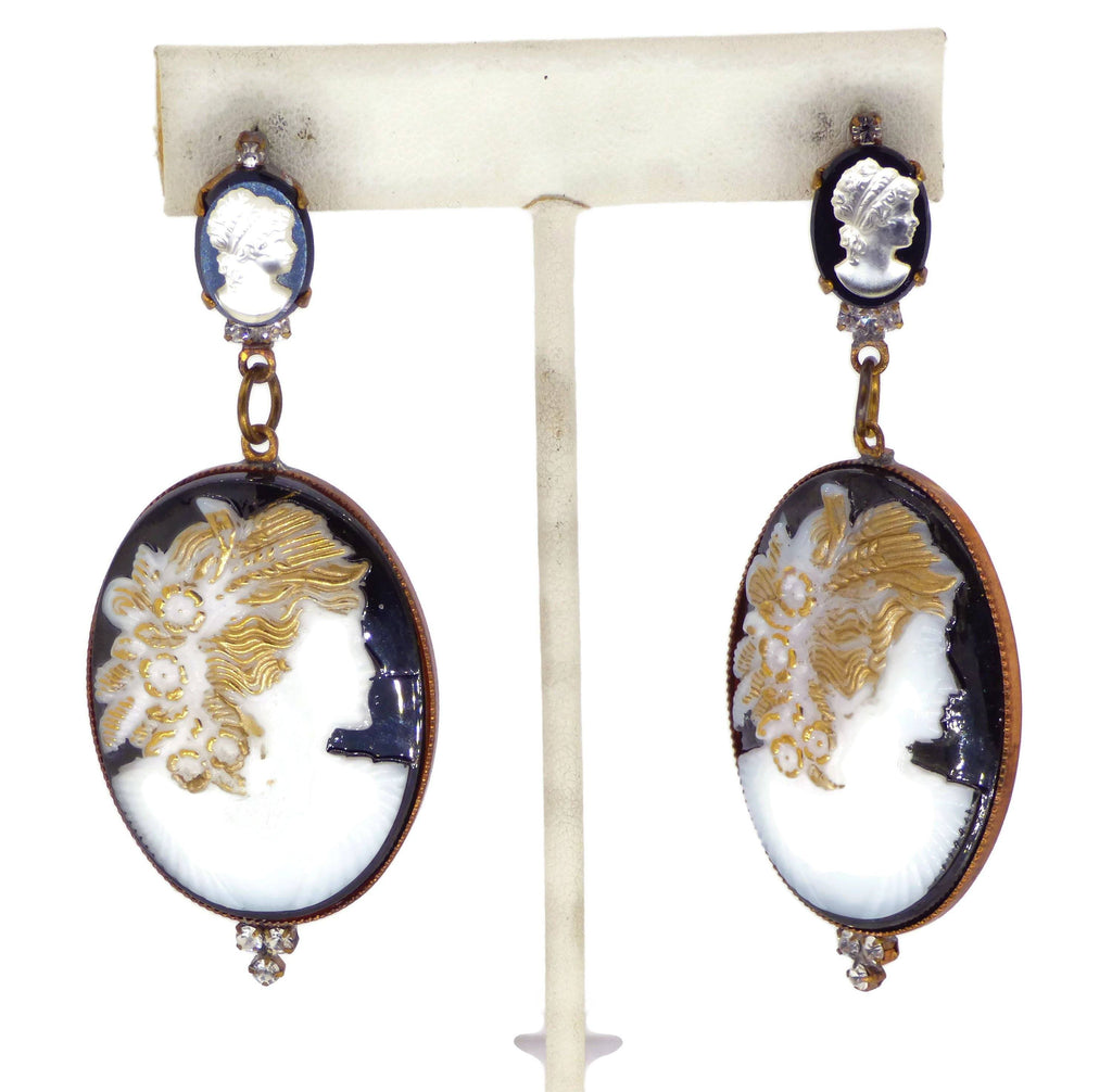 Czech Glass Cameo Pierced Style Earrings - Vintage Lane Jewelry