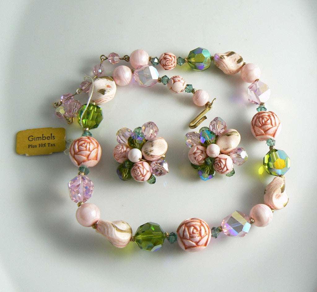 Beautiful Pink Rose Molded Bead & Crystal Necklace Earring Set - Vintage Lane Jewelry