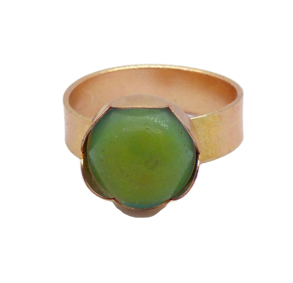 Mood Ring Gold Filled Flower Bezel - Vintage Lane Jewelry