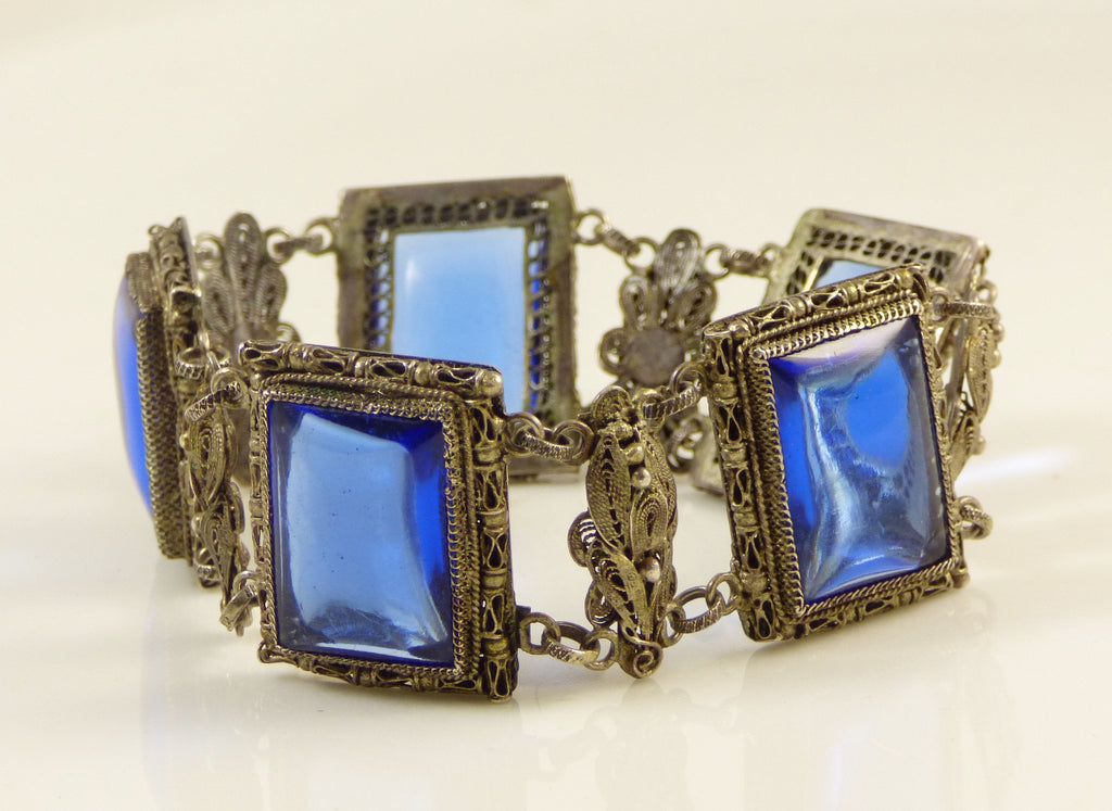 Vintage Chinese Export Sterling Silver Filigree Sapphire Blue Glass Bracelet - Vintage Lane Jewelry